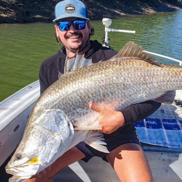 Peter Wise with 119CM barramundi Fishing one of Mackay's net free zone rivers